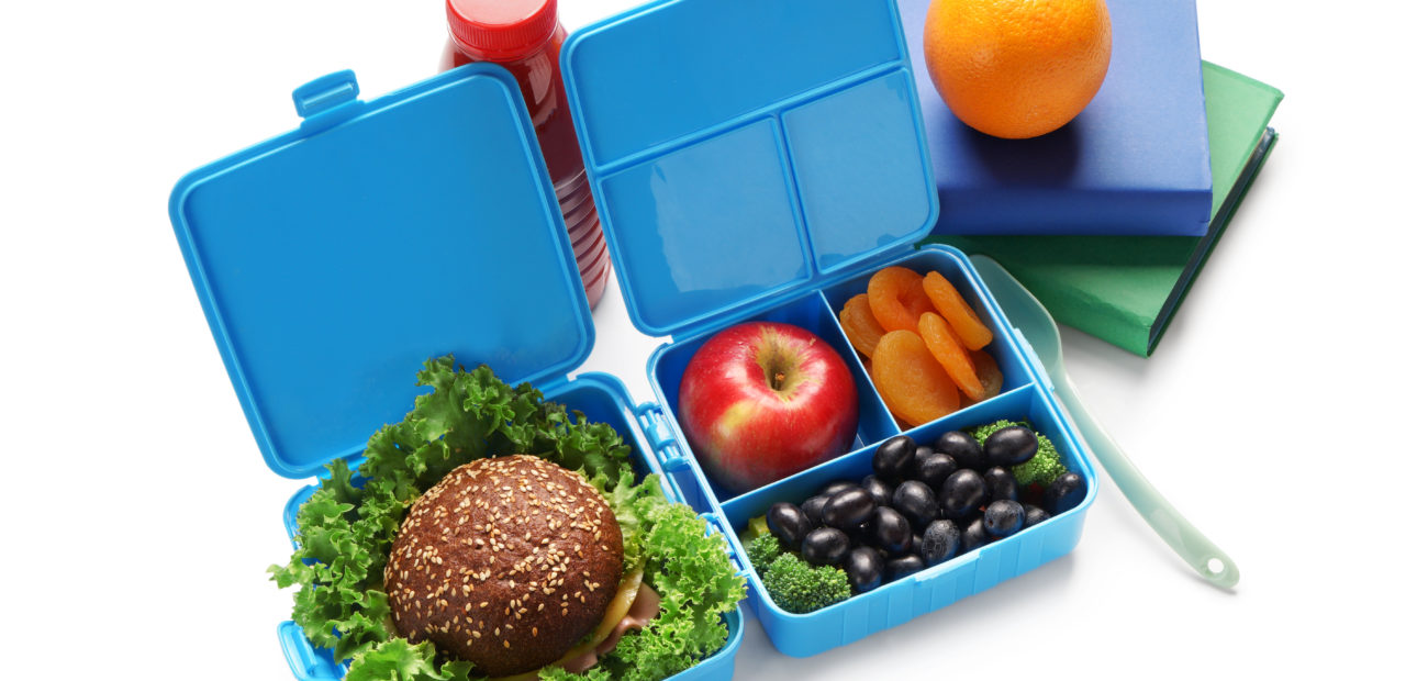 Bento lunchbox with healthy food inside