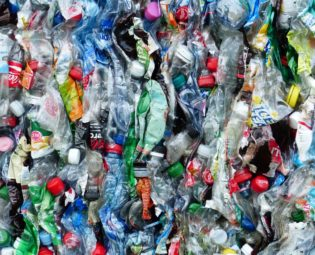 Plastic bottles squished for recycling