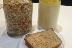 Homemade bread, yoghurt and muesli
