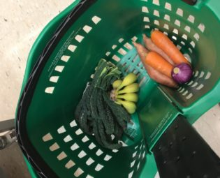 Supermarket roller basket with vegetables inside