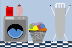 Cartoon drawing of a washing machine and ironing board