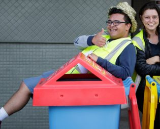 event waste educators in wheelie bin