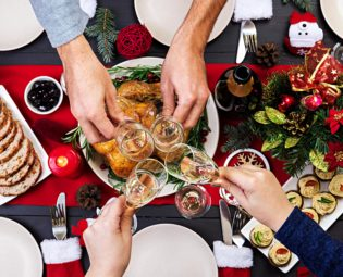 Christmas dinner, champagne, toast
