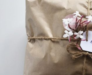Christmas present wrapped in sustainable paper