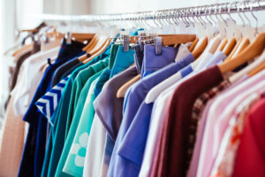 colourful women's clothes on a clothes rack