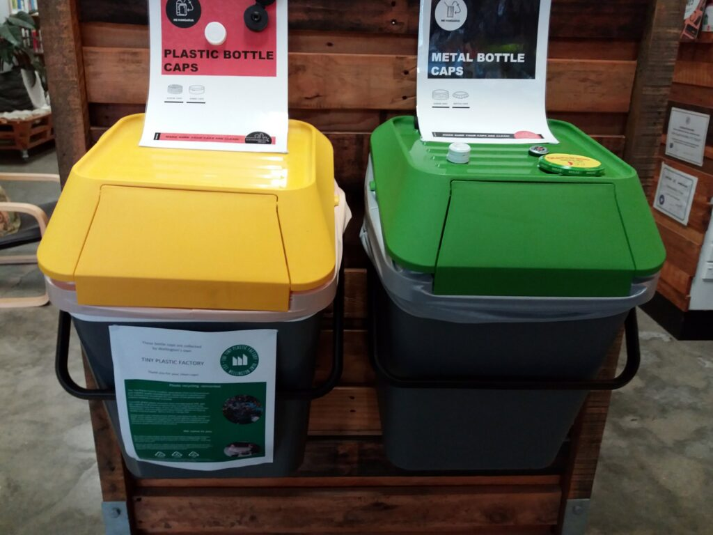 Recycling bins for plastic and metal bottle caps