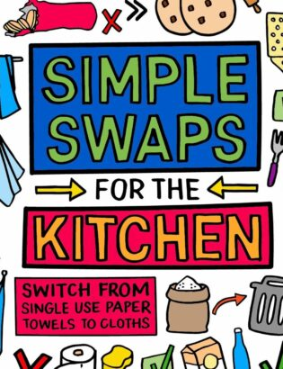 simple swaps for the kitchen illustrated in colourful images and text